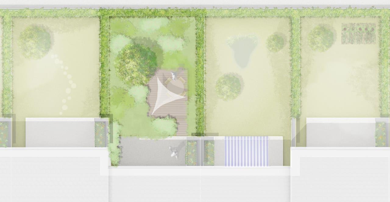 Garten Idee - Bepflanzung Variante 1, Gartenplan Petra Pelz, Zeichnung Nele Teichmann